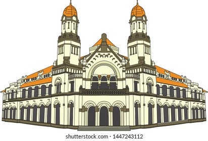 hand drawn of Lawang Sewu, an old building built by the dutch colonial in Semarang, Central Java, Indonesia