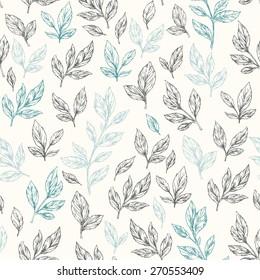 Hand drawn leaf seamless pattern. Vector illustration