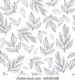 Hand drawn leaf seamless pattern.Tea  vector illustration
