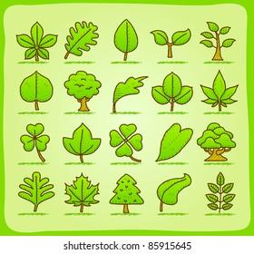 hand drawn leaf ,tree,eco icons