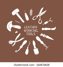 Hand drawn leather working tools illustration