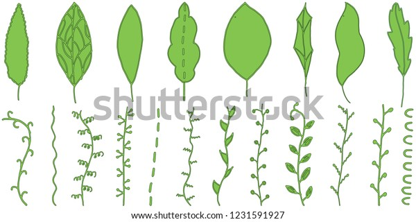 Hand Drawn Leaves Doodle Green Leaves Stock Vector Royalty Free 1231591927