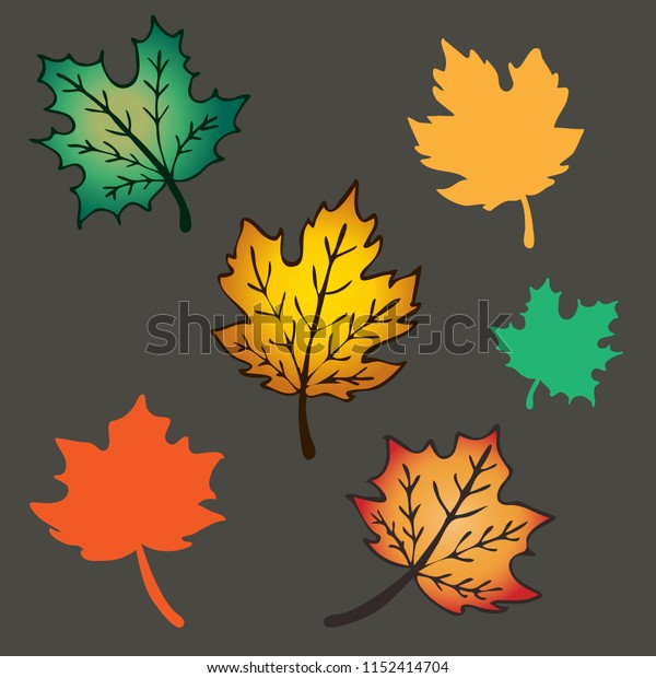 hand drawn leaves of maple in vector seamless