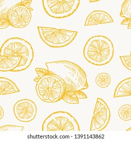 Hand Drawn Lemon, Orange or Tangerine Harvest Vector Seamless Background Pattern. Citrus and Leaves Sketches Card or Cover Template.