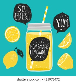Hand drawn lemon, lemon slice, jar with lemonade, speech bubbles with handwritten lettering