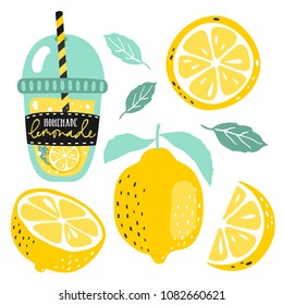 Hand drawn lemon, lemon slice, lemonade, leaves and handwritten text