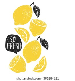 "Hand drawn lemon, lemon slice, speech bubble with ""So fresh"" handwritten lettering"