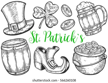 Hand drawn leprechaun hat, clover, beer mug, barrel, boot, golden coin pot sketch set for St. Patrick's Day. Irish festival retro vintage decoration. Vector vintage hand drawn saint Patrick day.
