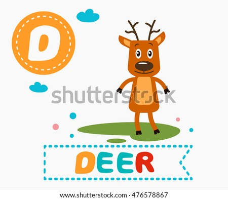 a787db990 Hand drawn letter D and funny cute deer. Children's alphabet in cartoon  style, vector illustration. - Vector