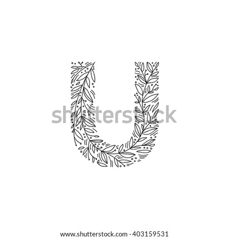 Hand Drawn Letter U Floral Decorative Stock Vector Royalty Free