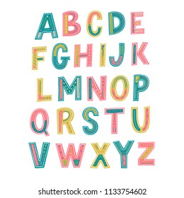 Hand drawn lettering alphabet. Kids playful alphabet.