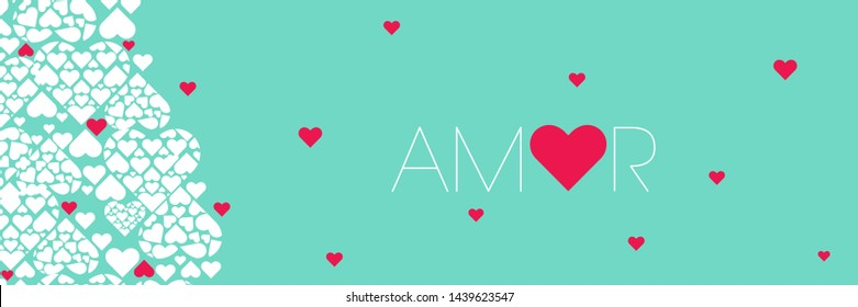 """Hand drawn lettering """"AMOR""""- mean LOVE, written in Spanish, on turquoise background. Flat vector illustration for Valentine`s Day cards, invitations, greetings, posters, prints, wedding design, web."""