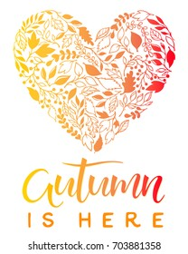 Hand drawn lettering autumn with leaves arranged in a heart in fall colors.Seasons greetings card perfect for prints, flyers, banners,invitations, special offer and more.Vector autumn illustration.