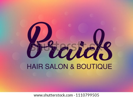 Hand Drawn Lettering Braids Hair Salon Stock Vector Royalty Free