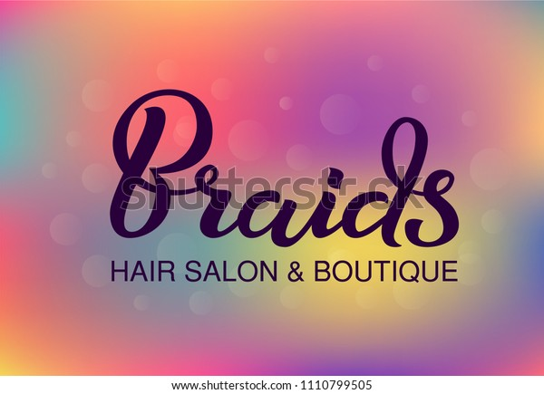 Hand Drawn Lettering Braids Hair Salon Stock Vector Royalty Free 1110799505