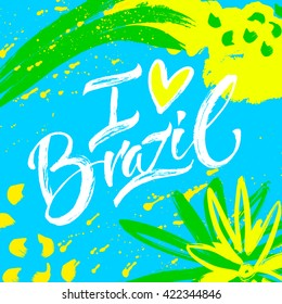 Hand drawn lettering Brazil. Modern calligraphy. Ink illustration. Design for banner, poster, card, souvenir, flyer, brochure, t-shirt. Isolated on textured colour abstract background