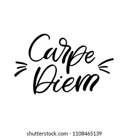 Hand drawn lettering card. The inscription: Carpe diem. Perfect design for greeting cards, posters, T-shirts, banners, print invitations.