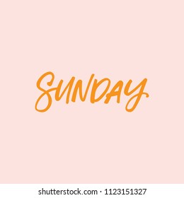 Hand drawn lettering card. The inscription: sunday. Perfect design for greeting cards, posters, T-shirts, banners, print invitations.