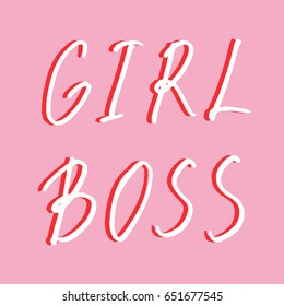 Hand drawn lettering card. The inscription: GIRL BOSS. Perfect design for greeting cards, posters, T-shirts, banners, print invitations.