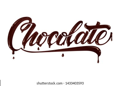Hand drawn lettering Chocolate. Elegant modern handwritten calligraphy with chocolate letters. Vector Ink illustration. Typography poster on light background. For cards, invitations, prints etc.