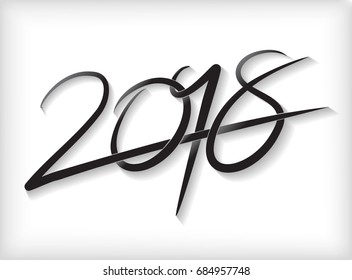 Hand drawn lettering greeting card with chinese calligraphy for 2018 Happy New Year Vector illustration