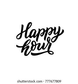 Hand drawn lettering happy hour for banner, card, poster, sale. Vector isolated typography.