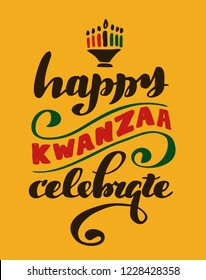 """Hand drawn lettering """"Happy Kwanzaa"""". Logo vector design, doodle style. Lettering for web, congratulations, promotional pictures news, invitations, postcards, banners, posters"""