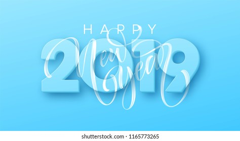 Hand drawn lettering Happy New Year 2019 on blue background. Vector illustration