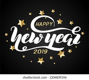 """Hand drawn lettering """"Happy new year"""" Logo vector design, doodle style. Lettering for web, congratulations, promotional pictures news, invitations, postcards, banners, posters"""