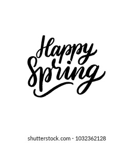 Hand drawn lettering happy spring for card, banner, poster. Hello spring season typography.