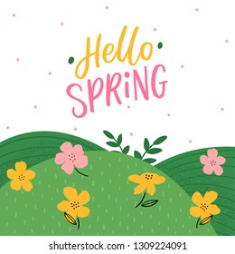 Hand drawn lettering hello spring and flowers, and grace. Spring card with typography welcome spring and leaves.