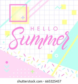 Hand drawn lettering hello summer with retro style texture, pattern and geometric elements in memphis style.Abstract design card perfect for prints, flyers,banners,invitations,special offer and more.