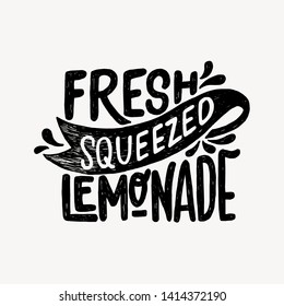 Hand drawn lettering inscription Fresh Squeezed Lemonade. Typographic ink text decorated with water splashes. Black and white vector illustration with cooling beverage banner. Attractive drink message
