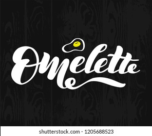 "Hand drawn lettering ""Omelette"" Logo vector design, doodle style. Lettering for web, congratulations, promotional pictures news, invitations, postcards, banners, posters"
