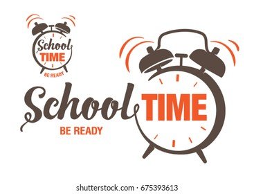 Hand drawn lettering on the topic school time