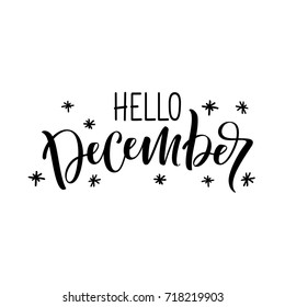 "Hand drawn lettering phrase ""Hello, December"""