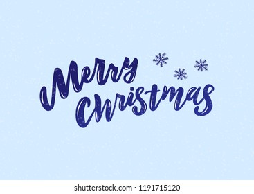 Hand drawn lettering phrase Merry Christmas. Good for banner, poster, flyer, greeting card, web design.