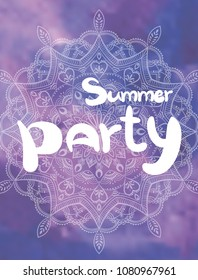 Hand drawn lettering quote – Summer party. Summer vacations poster with text, on watercolor imitation background. Can use for print greeting cards, totes, posters and t-shirts