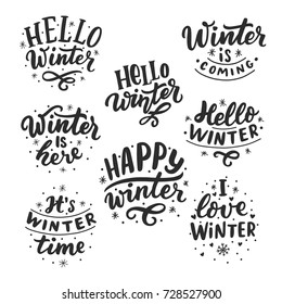 Hand drawn lettering set with phrases hello winter, love winter, it's winter time, winter coming for card, print, overlay, decor, poster, banner.