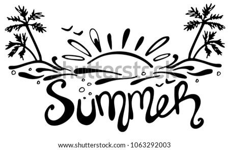 Line Art Of Sun : Hand drawn lettering summer setting sun stock vector royalty free