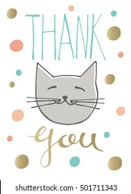 Hand drawn lettering thank you and cat with colored confetti