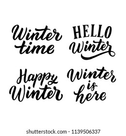Hand drawn lettering winter phrase, hello winter, happy winter for print, card, banner. Typography design element set.