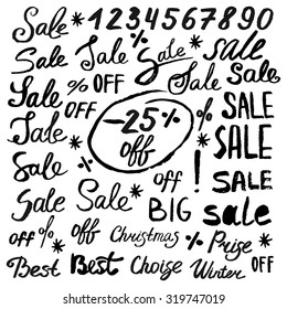 Hand drawn lettering words and signs: sale, off, best, price, numbers, percent.
