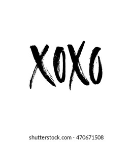 Hand drawn lettering Xoxo. Vector art. Handwritten script sign or slogan - perfect design element for banner, flyer, postcard or poster.