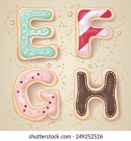 Hand drawn letters of the alphabet E through H in the shape of delicious and colorful cookies