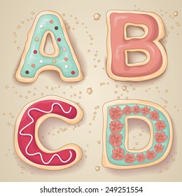 Hand drawn letters of the alphabet A through D in the shape of delicious and colorful cookies