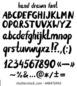 hand drawn letters, punctuation, numbers and  mathematical signs, alphabet, font