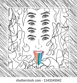 Hand Drawn lgbt girl or woman with rainbow tongue in psychodelic style Doodle card. Illustrations Drawing Vector Sketch for textile, print, postcard, poster, background, t-shirt, apparel