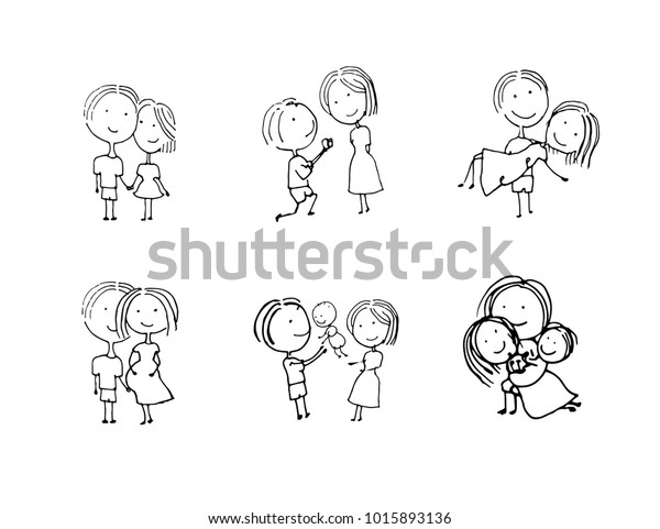 Hand Drawn Life Family Stages Human Stock Vector (Royalty