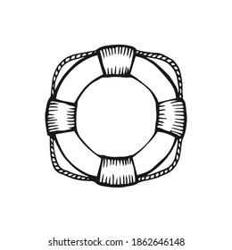 Hand drawn lifebuoy vector illustration on white background.